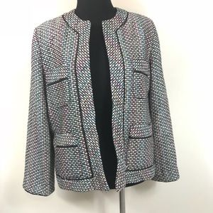 SILKLAND MULTICOLORED TWEED POCKET BLAZER SIZE M